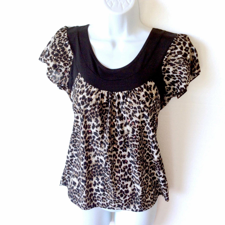 Blingy Sequin Leopard Print Blouse Stretch Cap Sleeves Women's Petite Medium (PM) New