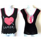 Lovers Heart Tank Top Keyhole Tie Back Hi Lo Boxy Pink Black Women's Size Medium (M) New
