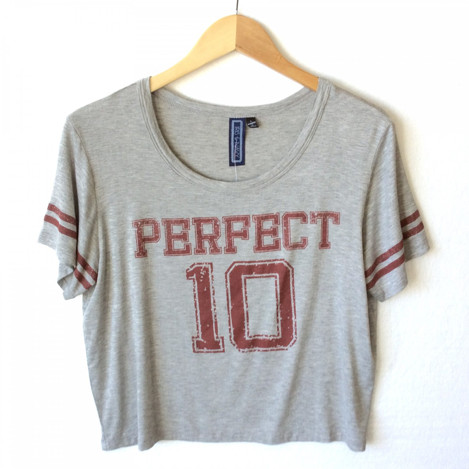 """Soft Stretchy Boxy Crop Cropped Tee T-Shirt Tshirt """"Perfect 10"""" Women's Size Large (L) New"""