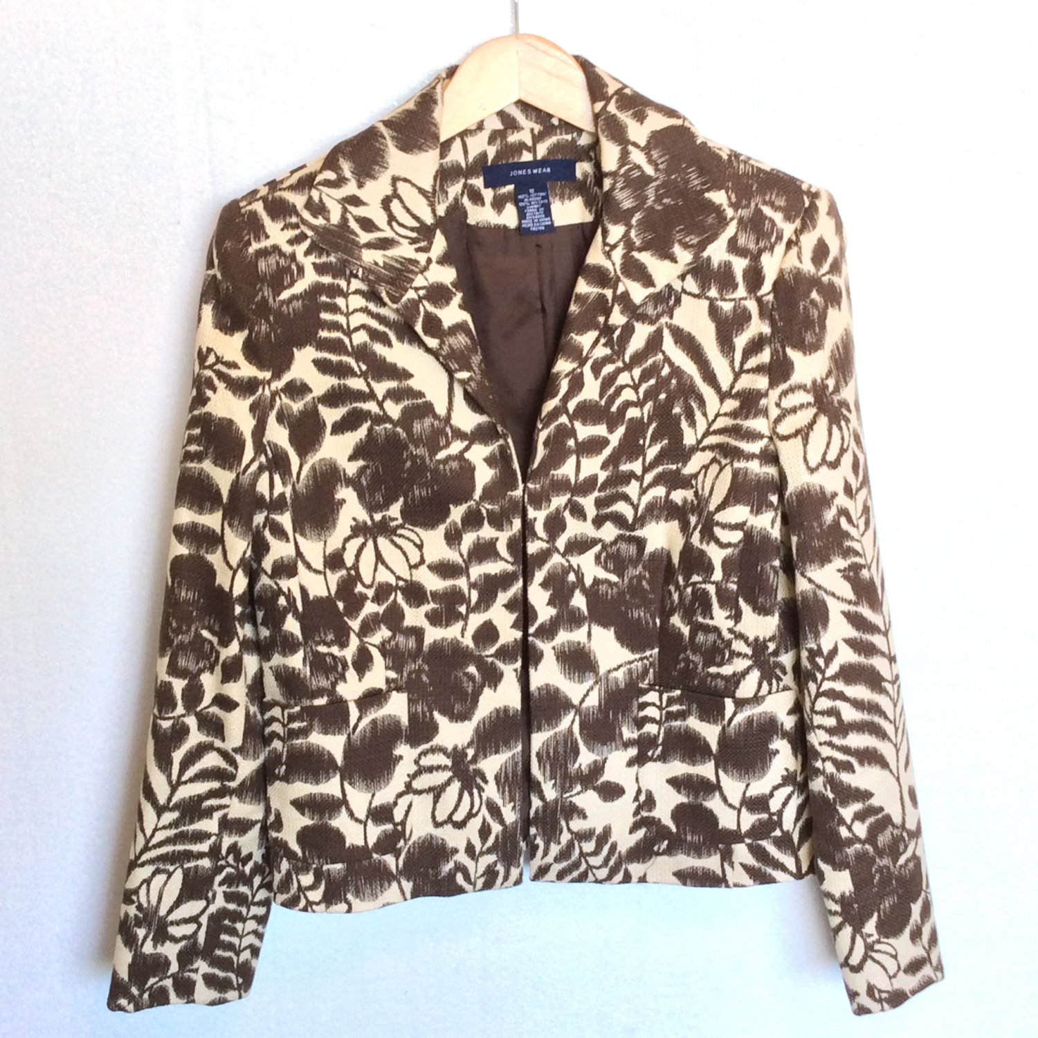 Jones Wear Cotton Blazer Jacket Cream & Brown Floral Career Wear to Work Women's Size 12 (Large) L