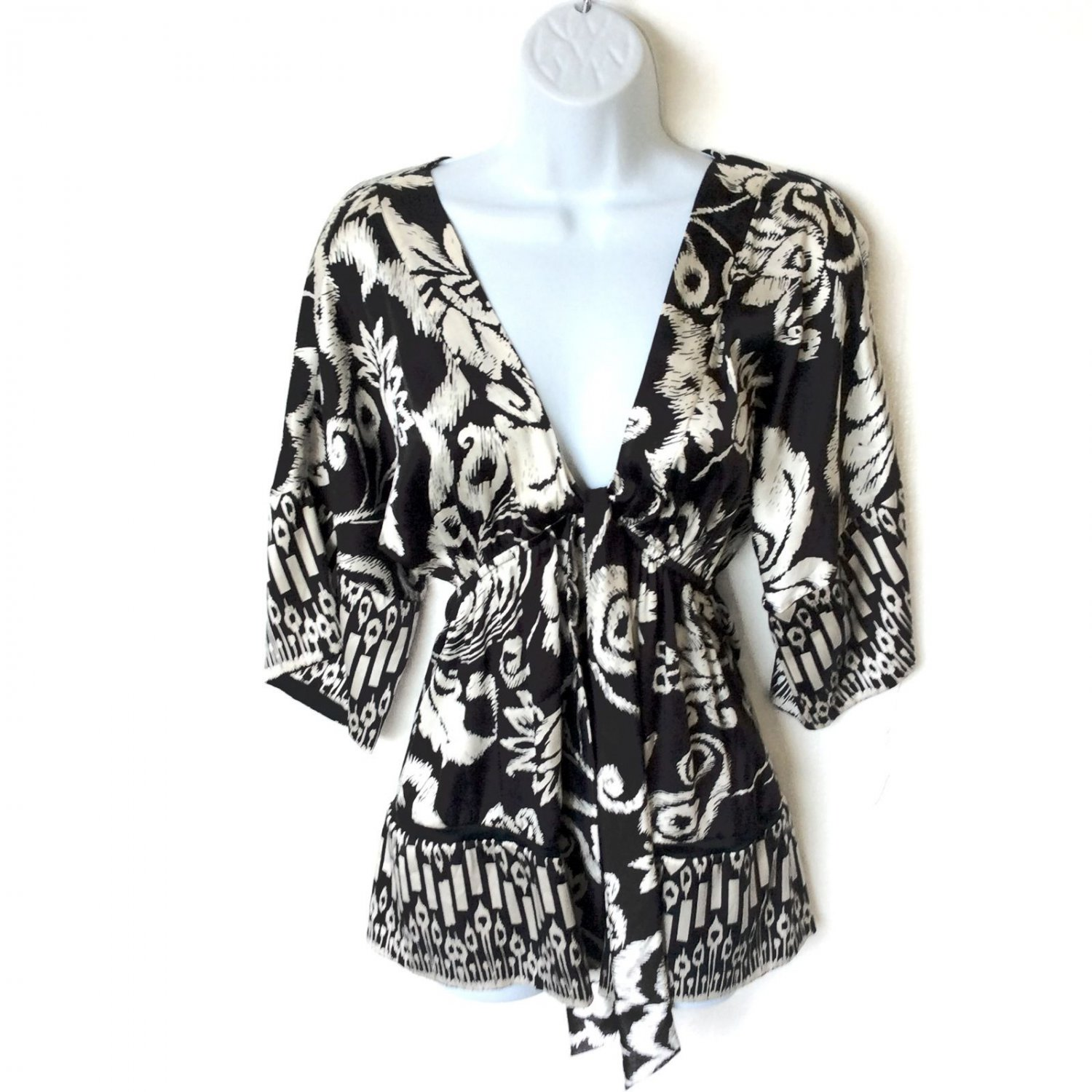 Joseph Black and Ivory Cream Silk Tie Bust Tunic Top Blouse Shirt Women's Size Small (S)
