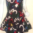 Vintage 1980's Abstract Strapless Party Dress XS S