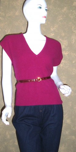 Vintage Fuchsia Pink Angora Sweater Vest Vneck Top M ps