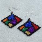 Stained Glass Earrings - 2 Drop Peyote Bead Pattern