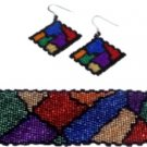 Stained Glass Bracelet and Earring Set - 2 drop peyote bead pattern