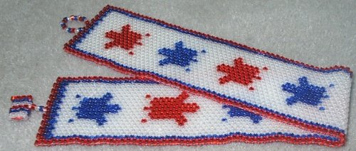 Patriotic Turtles Bracelet - Peyote Bead Pattern