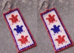 Patriotic Turtles Earring Set - Peyote Bead Pattern