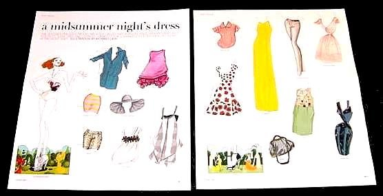 A MIDSUMMER NIGHT'S DRESS Magazine Paper Dolls 2 BIG PAGES