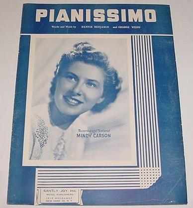 Pianissimo MINDY CARSON Sheet Music COVER PHOTO 1947