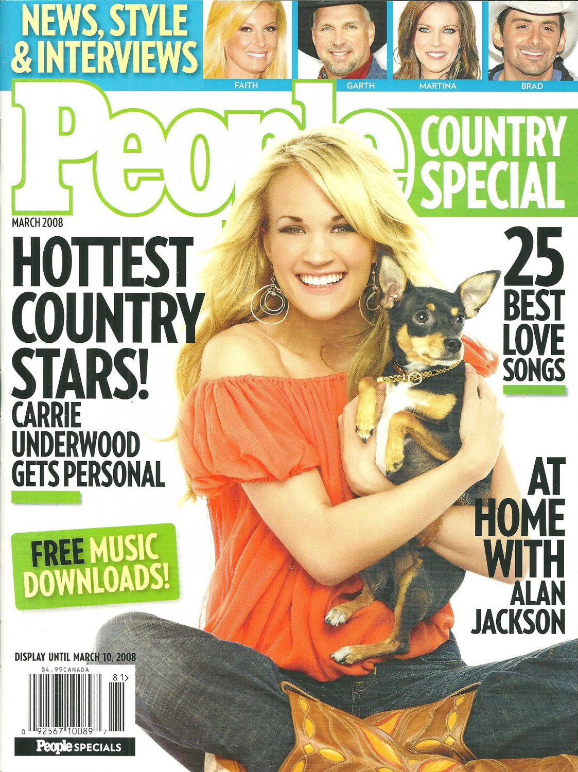PEOPLE COUNTRY SPECIAL March 2008 CARRIE UNDERWOOD Alan Jackson TAYLOR SWIFT