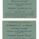 2 Original Vintage RUBINOFF North Vancouver Concert Tickets November 23, 1955