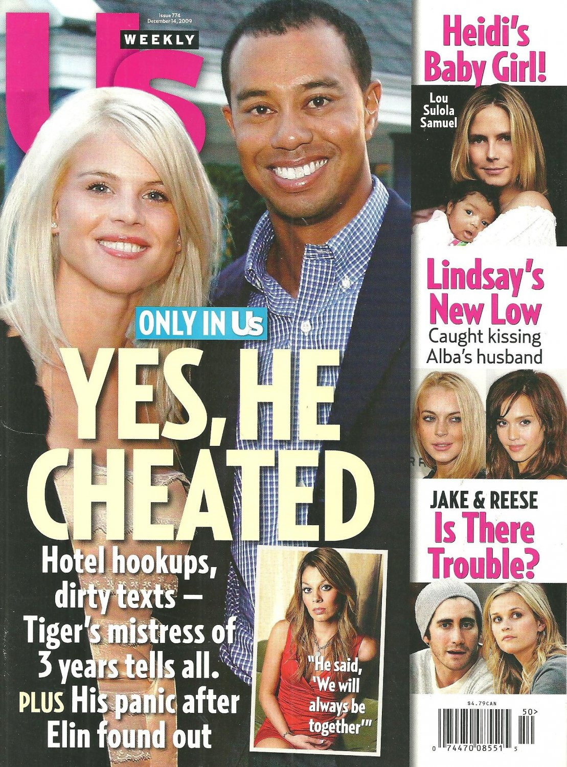 """US WEEKLY December 14, 2009 TIGER WOODS """"YES, HE CHEATED"""" Adam Lambert NEW COPY!"""