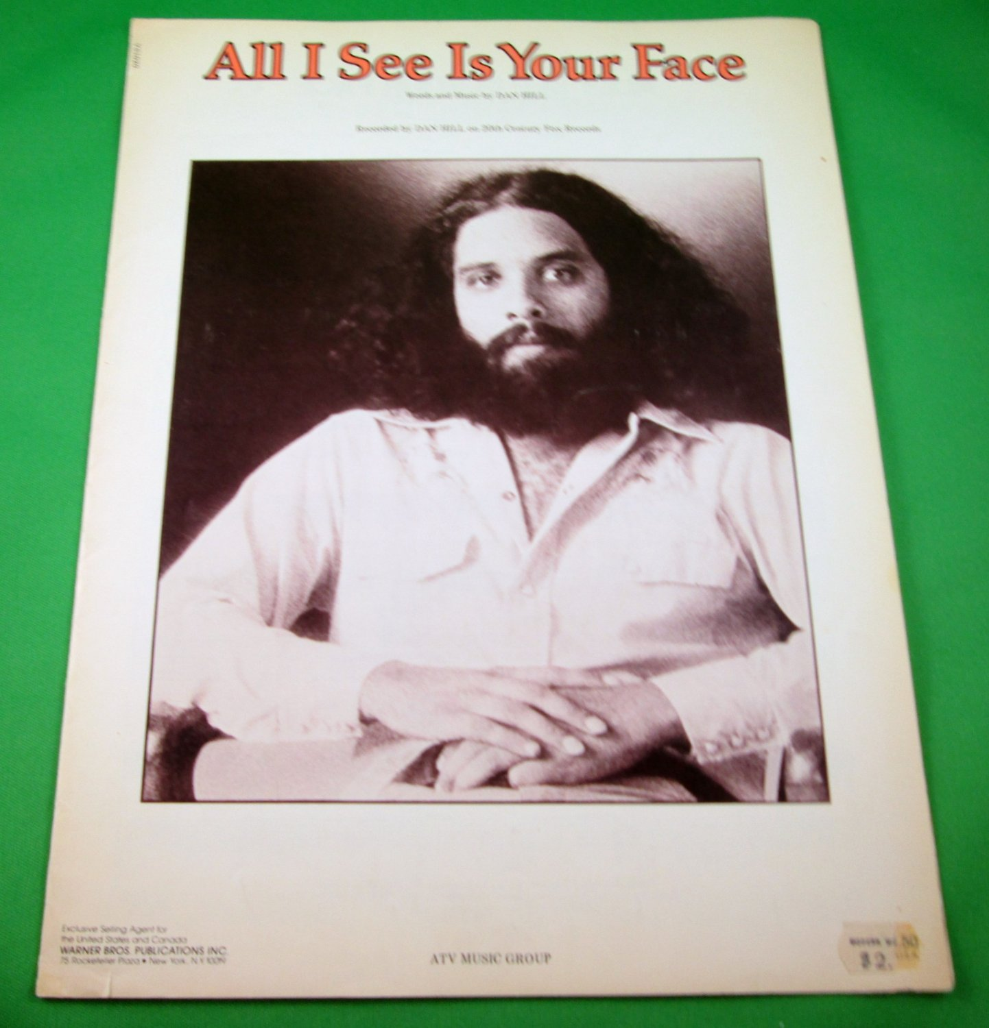ALL I SEE IS YOUR FACE Original Sheet Music DAN HILL COVER PHOTO © 1978