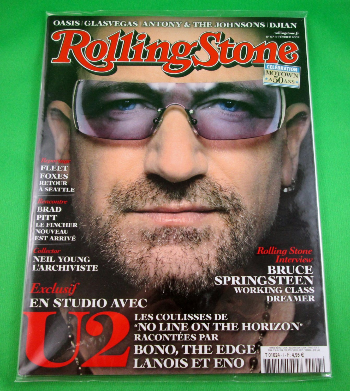 FRENCH LANGUAGE ROLLING STONE MAGAZINE #07 February 2009 U2 BONO New Unread Copy
