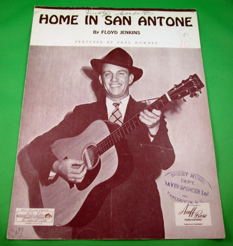 HOME IN SAN ANTONE Original Sheet Music PAUL HOWARD COVER © 1943