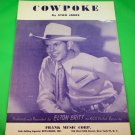 COWPOKE Original Sheet Music ELTON BRITT COVER © 1950