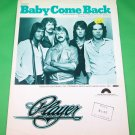 BABY COME BACK Vintage Sheet Music PLAYER © 1977