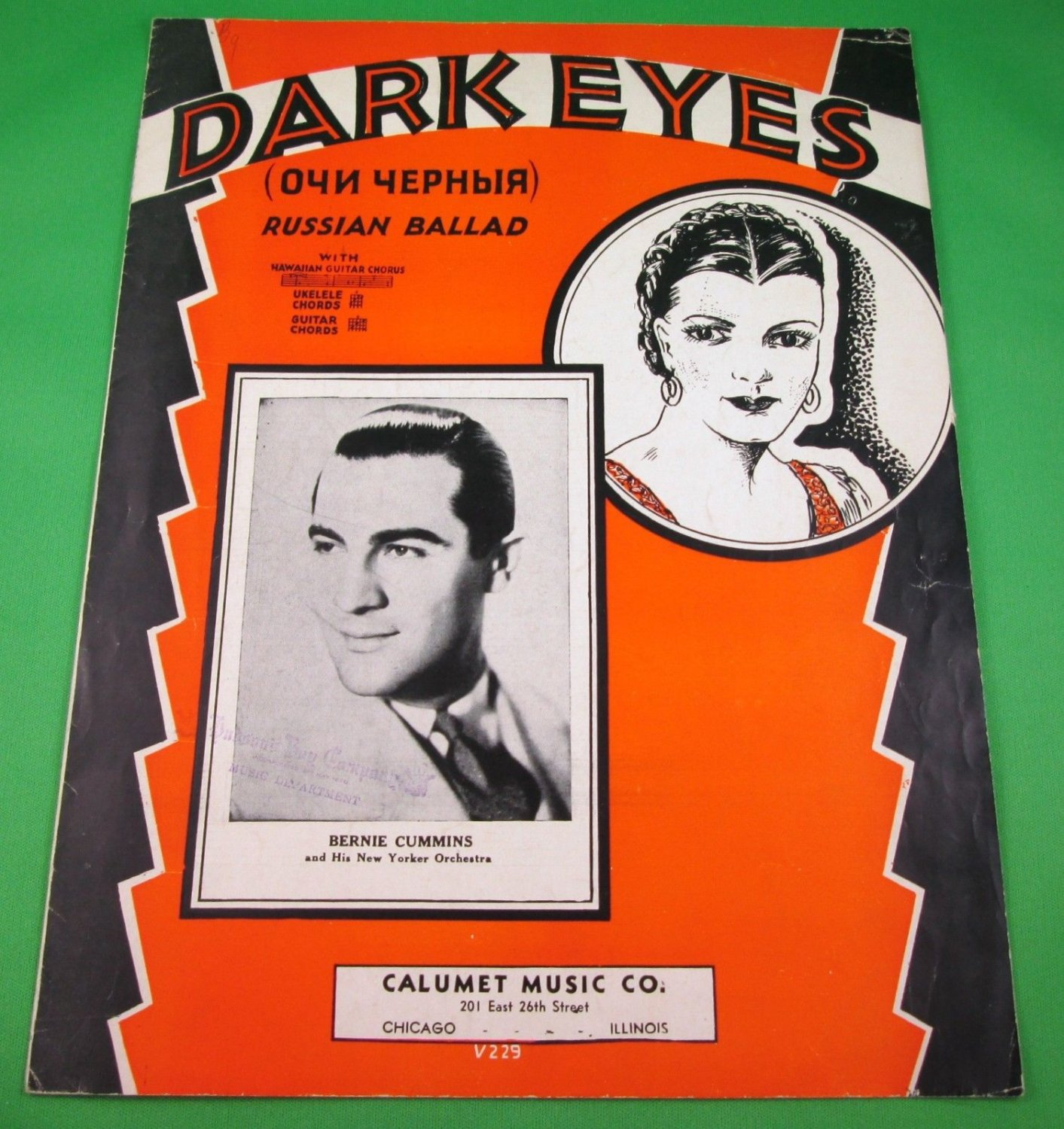DARK EYES Russian Ballad Piano/Vocal/Guitar Sheet Music BERNIE CUMMINS © 1936