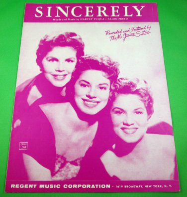SINCERELY Original Sheet Music THE McGUIRE SISTERS © 1954