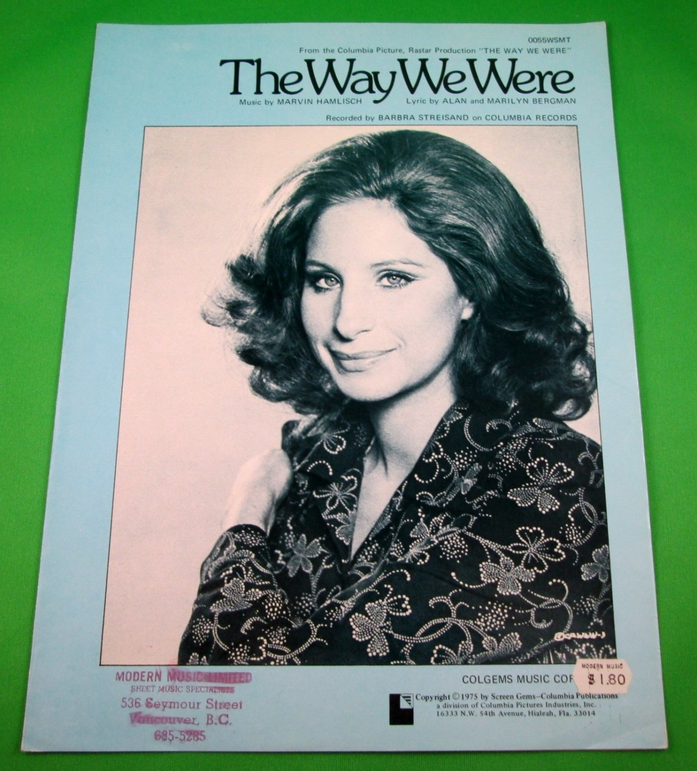 THE WAY WE WERE Piano/Vocal/Guitar Sheet Music BARBRA STREISAND © 1973