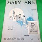MARY ANN Vintage Piano/Vocal/Guitar/Uke Sheet Music © 1927