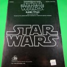 STAR WARS (MAIN TITLE) Original Piano Solo Sheet Music © 1977