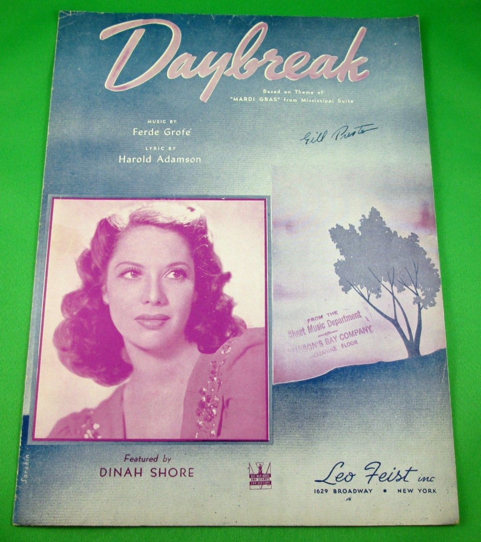 DAYBREAK Vintage Piano/Vocal/Guitar Sheet Music DINAH SHORE © 1942
