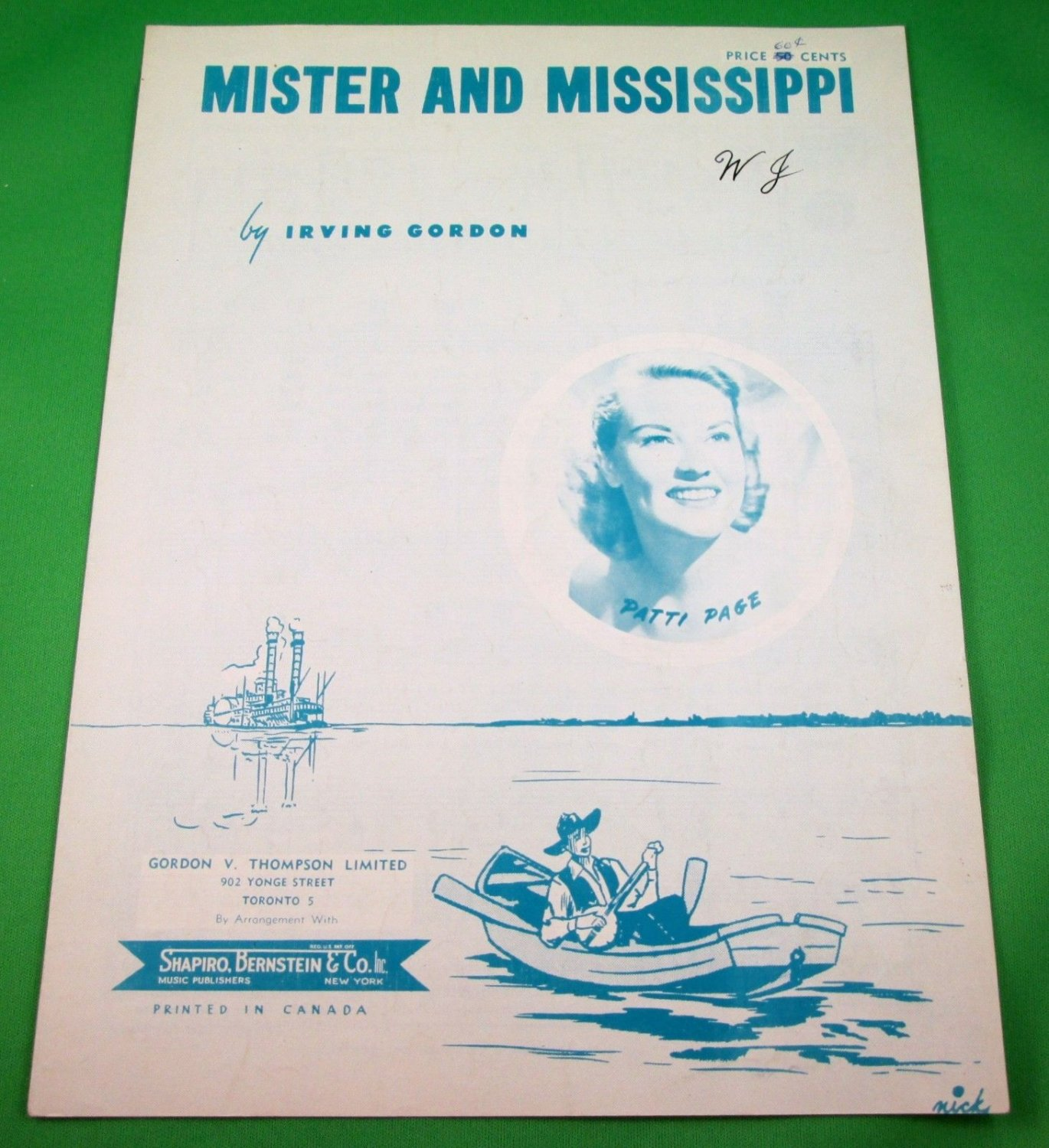 MISTER AND MISSISSIPPI Original Piano/Vocal/Guitar Sheet Music PATTI PAGE © 1951