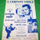 A CERTAIN SMILE Piano/Vocal Sheet Music ROSSANO BRAZZI Joan Fontaine © 1958