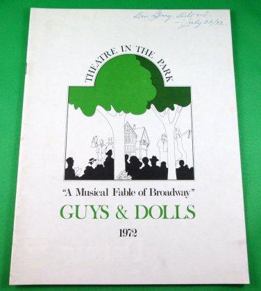 GUYS & DOLLS Souvenir Program THEATRE IN THE PARK Vancouver 1972