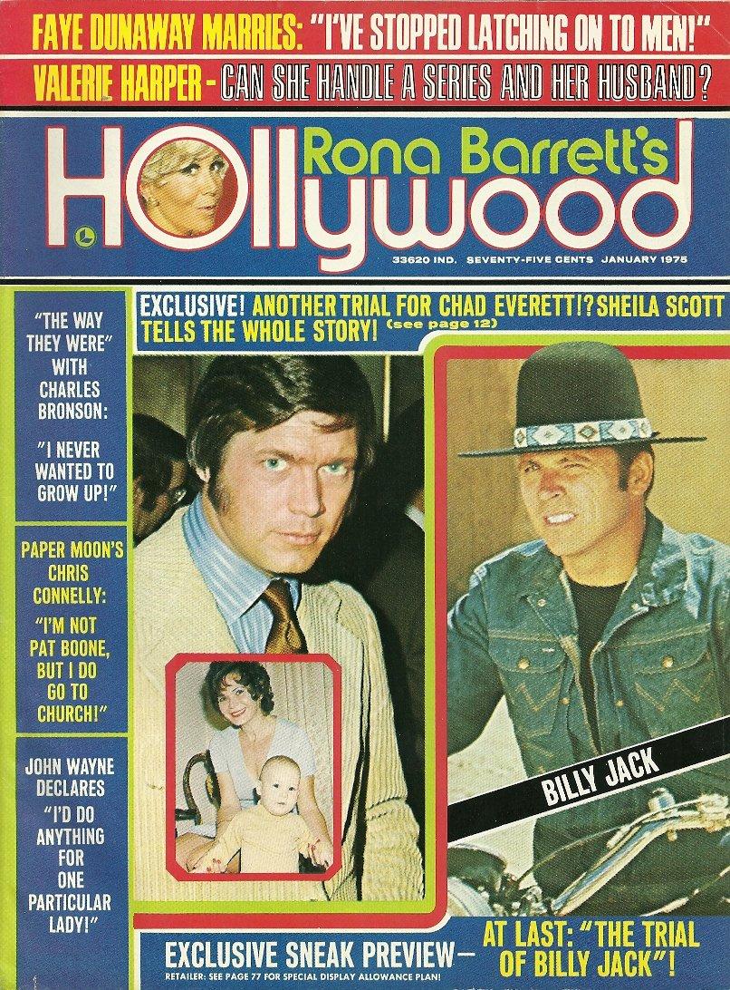 RONA BARRETT'S HOLLYWOOD January 1975 CHAD EVERETT John Wayne FAYE DUNAWAY