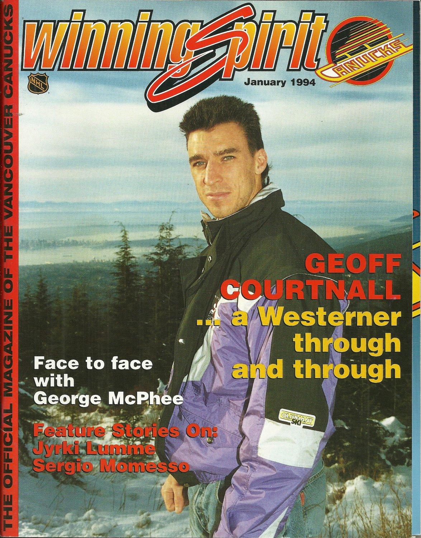 WINNING SPIRIT Official Vancouver Canucks Magazine January 1994 GEOFF COURTNALL