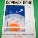 'M WINGIN' HOME Vintage Piano/Vocal/Guitar/Ukulele/Banjo Sheet Music © 1928