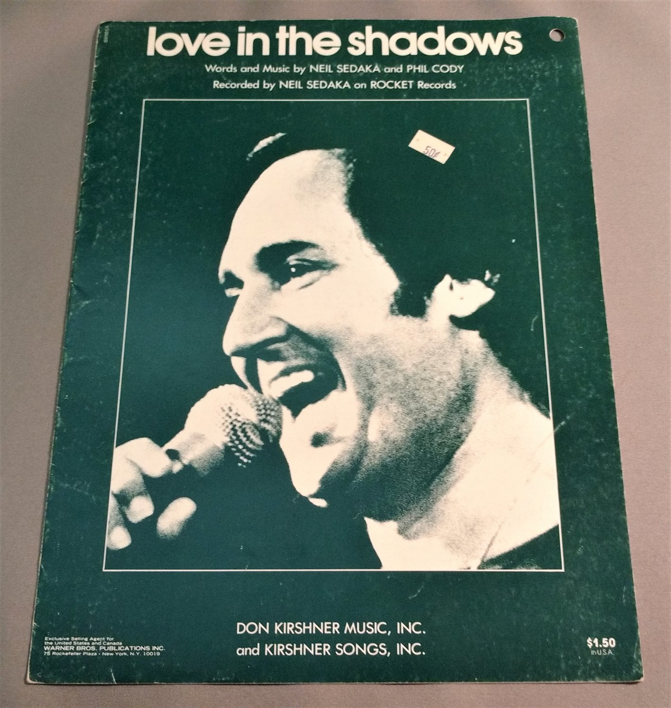 LOVE IN THE SHADOWS Piano Vocal Guitar Sheet Music NEIL SEDAKA 1976 Cover Photo