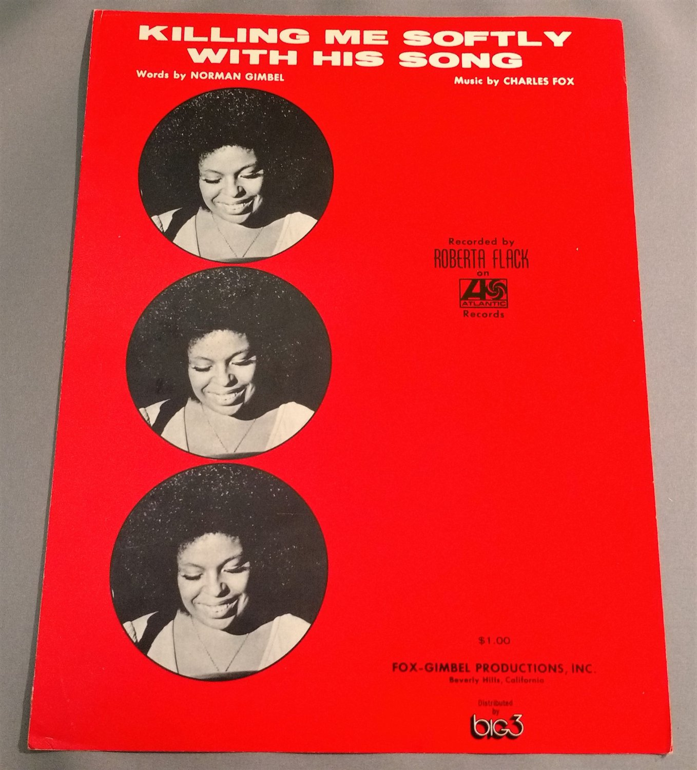 KILLING ME SOFTLY WITH HIS SONG Sheet Music ROBERTA FLACK 1972 Cover Photos