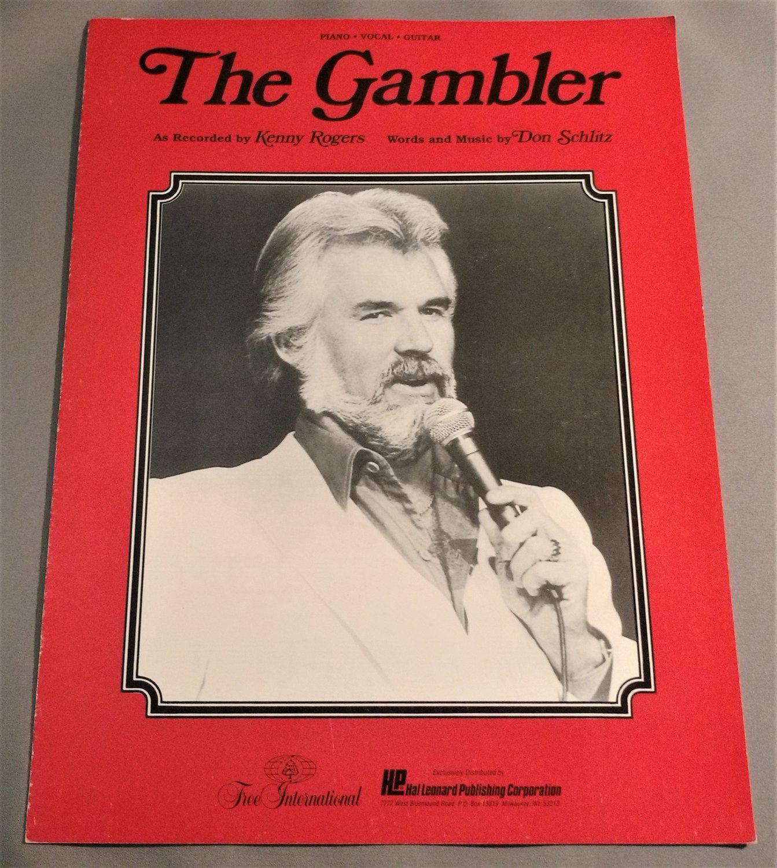 THE GAMBLER Piano Vocal Guitar Sheet Music KENNY ROGERS 1977 1991