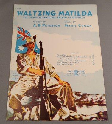 WALTZING MATILDA (An Australian Song) Vintatge Sheet Music © 1941 Edition V1504