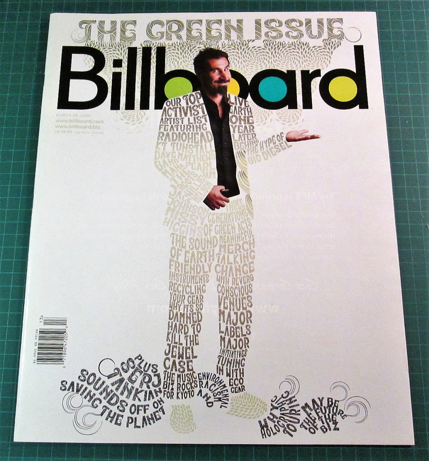 BILLBOARD MAGAZINE March 29, 2008 SERJ TANKIAN Juanes JACK JOHNSON Robyn