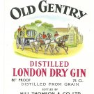 OLD GENTRY Imported Distilled London Dry Gin Label