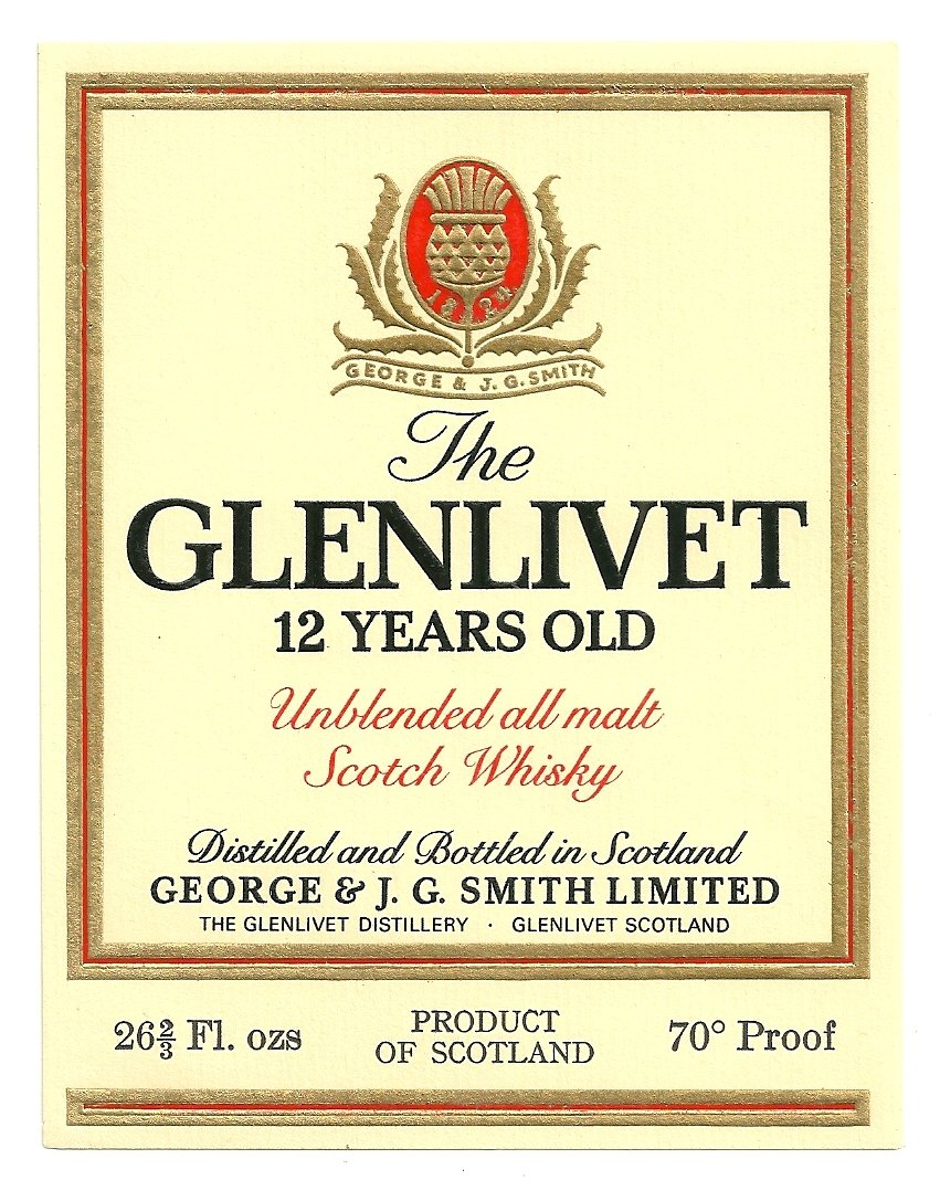 THE GLENLIVET 12 YEARS OLD Unblended All Malt Scotch Whisky Label