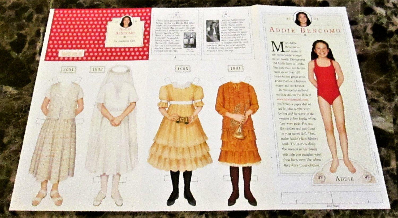 ADDIE BENCOMO Die-Cut Paper Dolls from American Girl Magazine