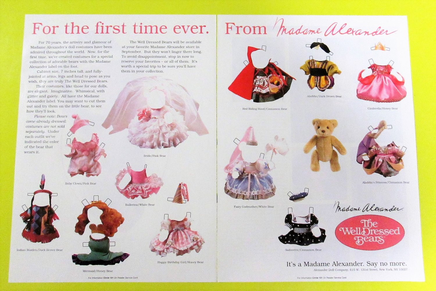 THE WELL DRESSED BEARS Magazine Paper Dolls by Madame Alexander