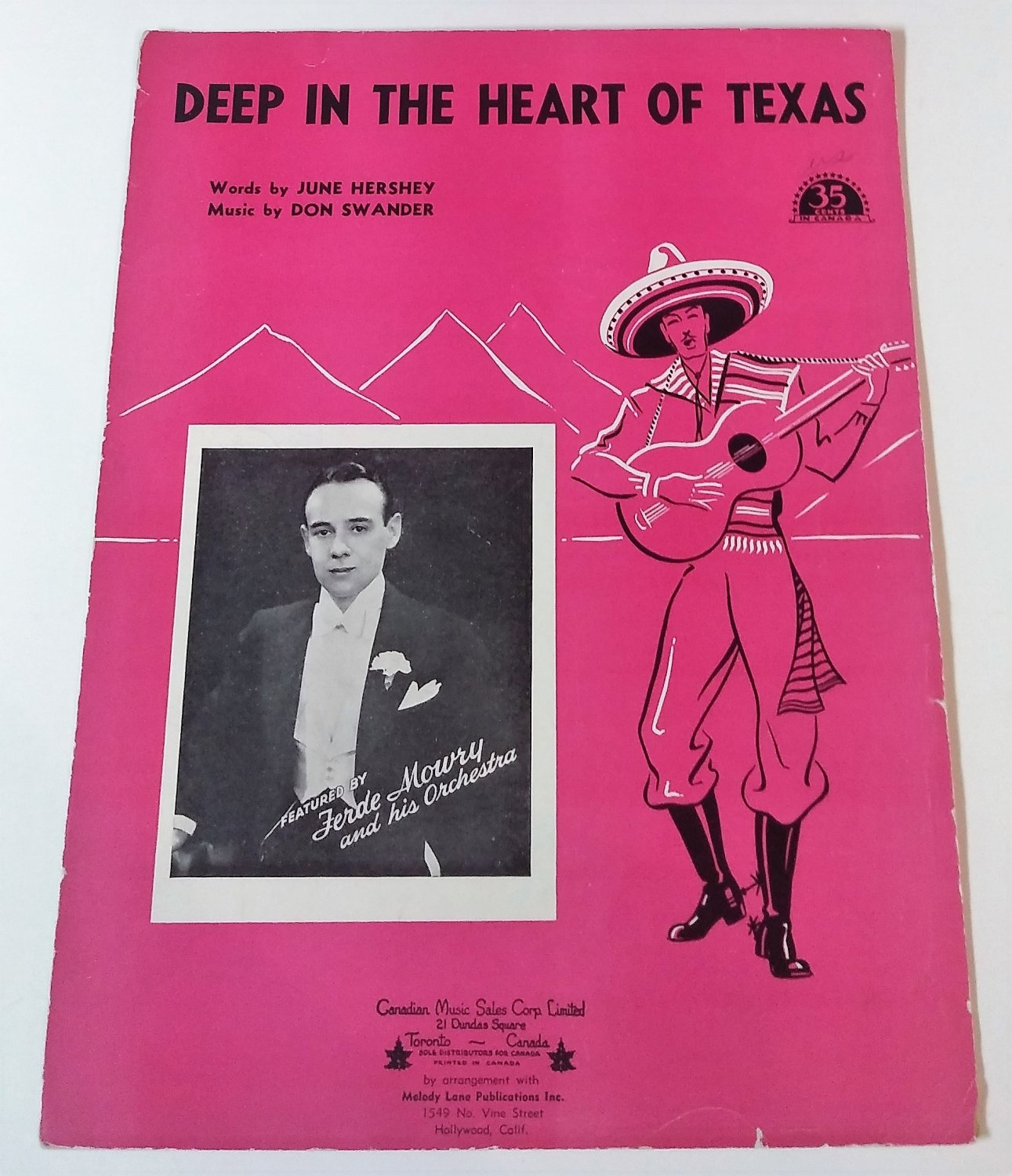 DEEP IN THE HEART OF TEXAS Piano/Vocal/Guitar Sheet Music FERDE MOWRY © 1941