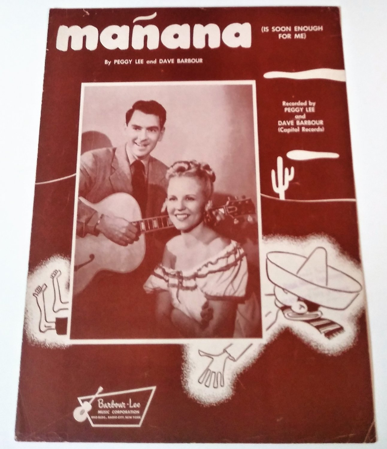 MA�ANA (IS SOON ENOUGH FOR ME) Piano/Vocal Sheet Music PEGGY LEE & DAVE BARBOUR
