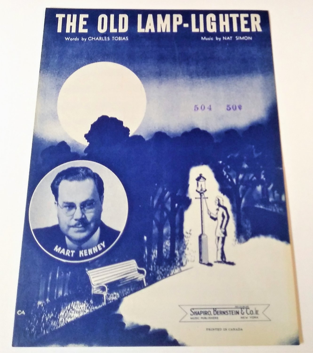 THE OLD LAMP-LIGHTER Piano/Vocal Sheet Music MART KENNEY COVER © 1946