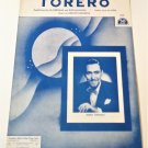 TORERO Piano/Vocal/Guitar Sheet Music BARRY TOWNLEY 1958 English & Italian Lyric