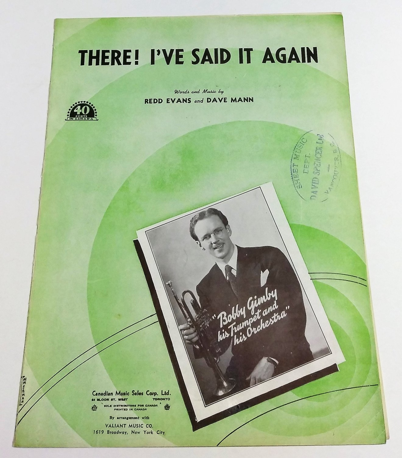 THERE! I'VE SAID IT AGAIN Piano/Vocal Sheet Music BOBBY GIMBY © 1941
