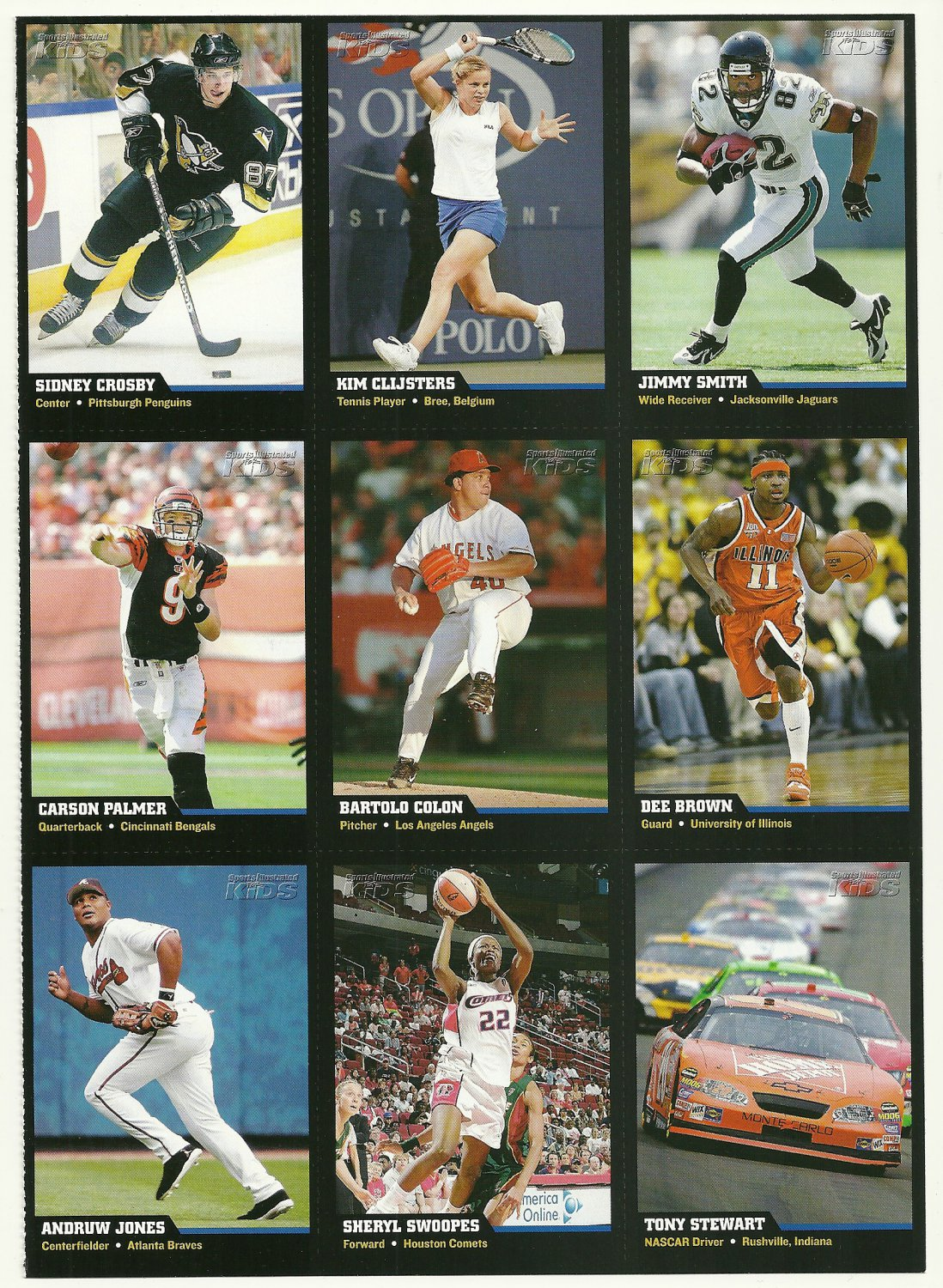SI SPORTS ILLUSTRATED FOR KIDS Sheet of 9 Trading Cards #1 to #9 SIDNEY CROSBY