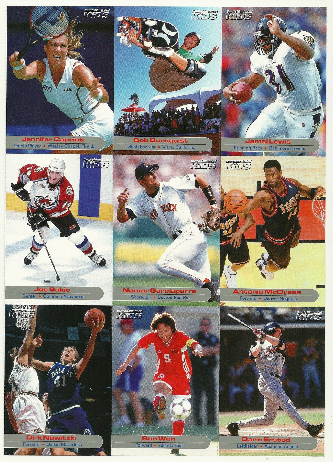 SI SPORTS ILLUSTRATED FOR KIDS Sheet of 9 Trading Cards #46 to #54 BOB BURNQUIST