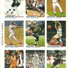 SI SPORTS ILLUSTRATED FOR KIDS Sheet of 9 Trading Cards #136-144 REGGIE BUSH